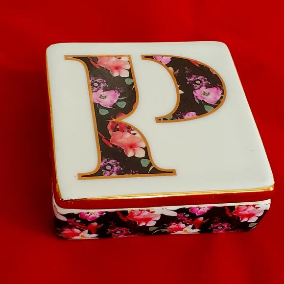 Anthropologie Lidded Monogram Jewelry Trinket Box
